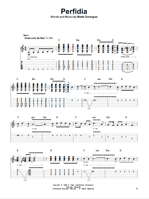 Perfidia sheet music for guitar solo (tablature, play-along) by The Ventures