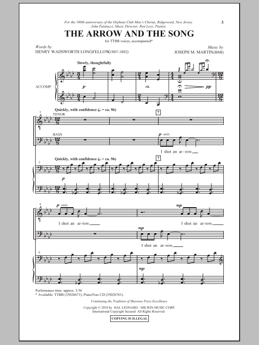 The Arrow And The Song sheet music for choir and piano (TTBB) by Joseph M. Martin