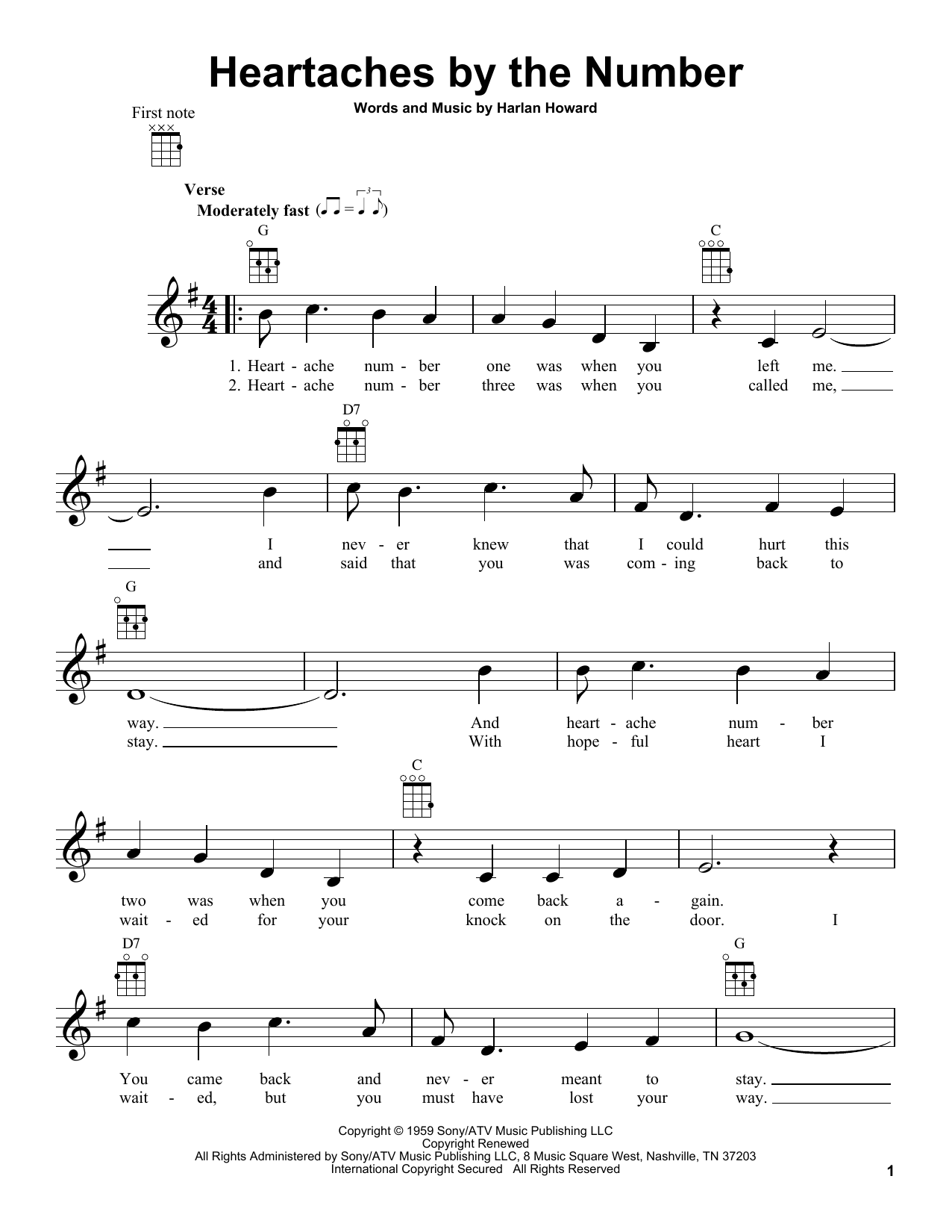 Tablature guitare Heartaches By The Number de Guy Mitchell - Ukulele