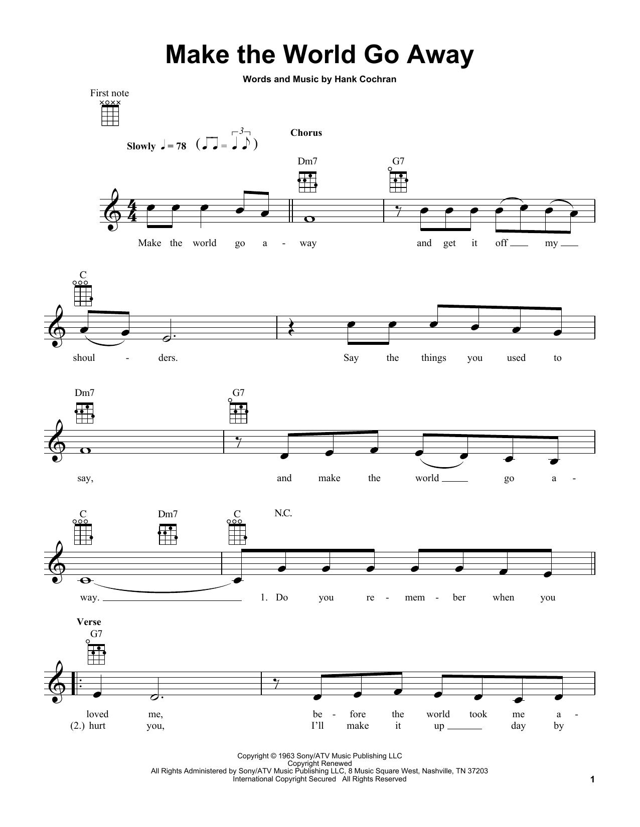 Make The World Go Away sheet music for ukulele by Hank Cochran