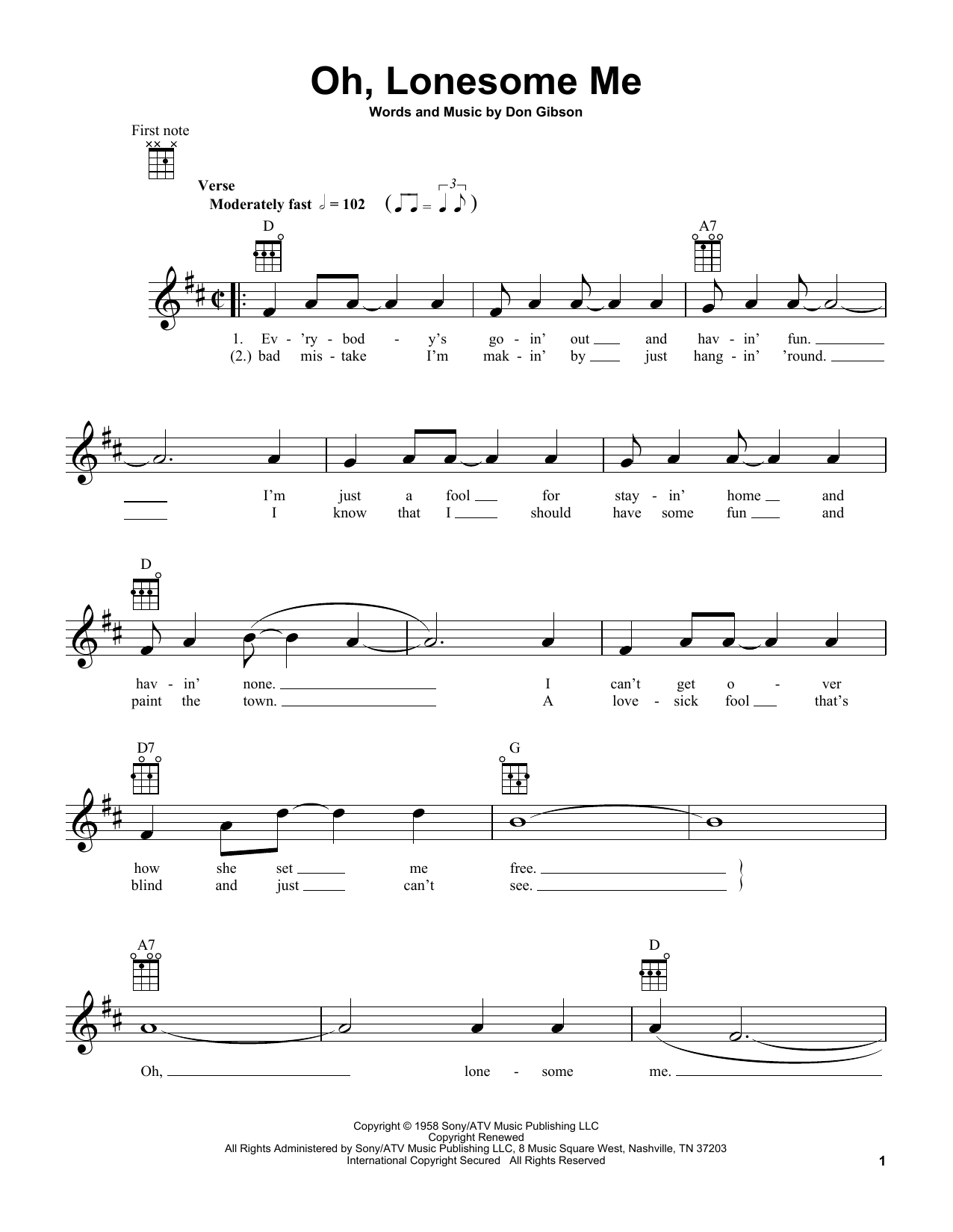 Tablature guitare Oh, Lonesome Me de Don Gibson - Ukulele