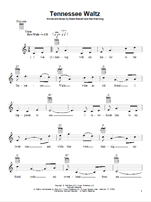 Tablature guitare Tennessee Waltz de Patti Page - Ukulele