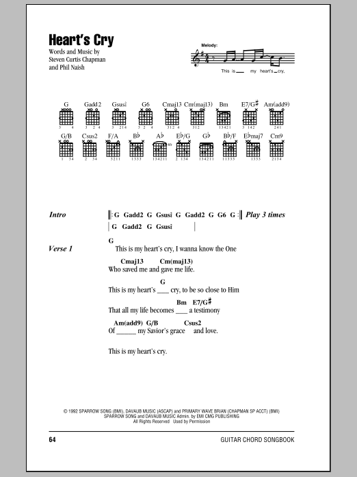 Heart's Cry sheet music for guitar solo (chords, lyrics, melody) by Phil Naish