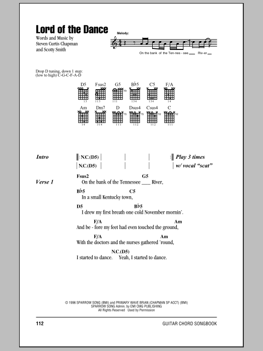Lord Of The Dance sheet music for guitar solo (chords, lyrics, melody) by Scotty Smith