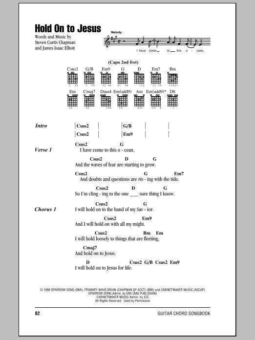Hold On To Jesus sheet music for guitar solo (chords, lyrics, melody) by James Isaac Elliott