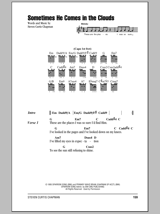 Sometimes He Comes In The Clouds sheet music for guitar solo (chords, lyrics, melody) by Steven Curtis Chapman