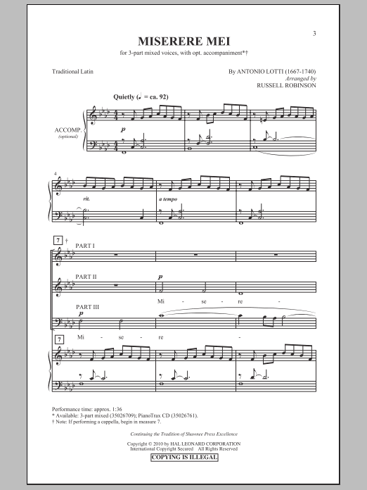 Miserere Mei sheet music for choir and piano (chamber ensemble) by Antonio Lotti