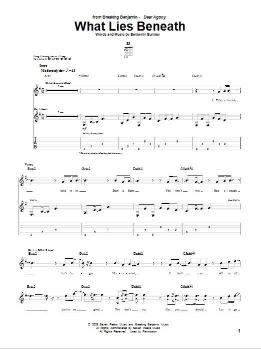 Tablature guitare What Lies Beneath de Breaking Benjamin - Tablature Guitare