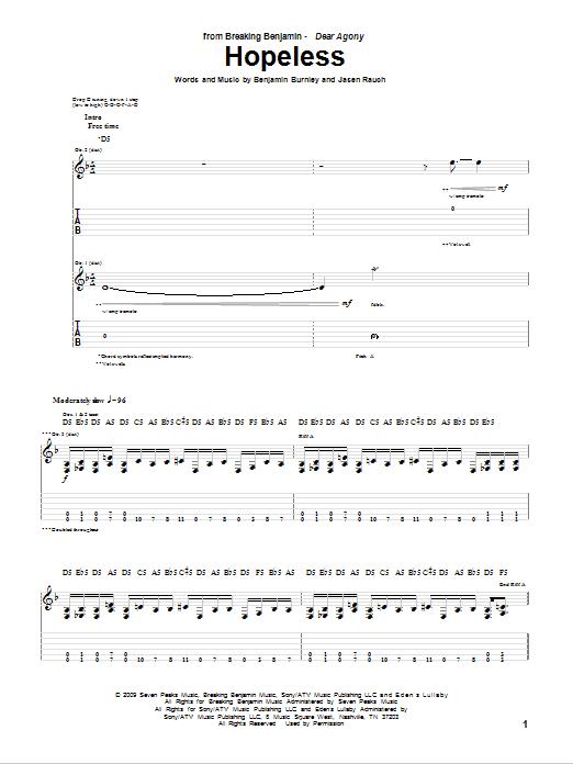 Tablature guitare Hopeless de Breaking Benjamin - Tablature Guitare