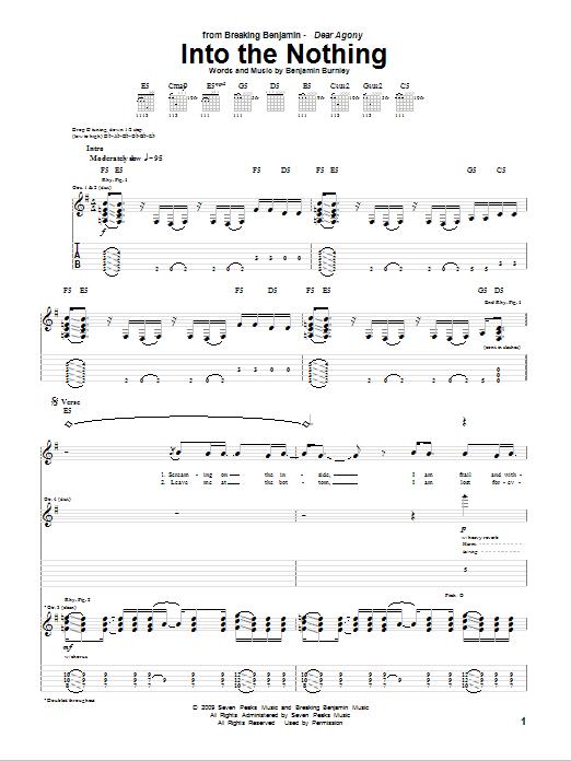 Tablature guitare Into The Nothing de Breaking Benjamin - Tablature Guitare