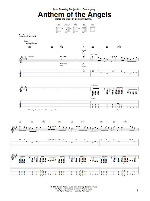 Tablature guitare Anthem Of The Angels de Breaking Benjamin - Tablature Guitare