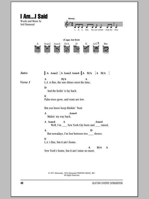 Sheet Music Digital Files To Print - Licensed Neil Diamond Digital ...