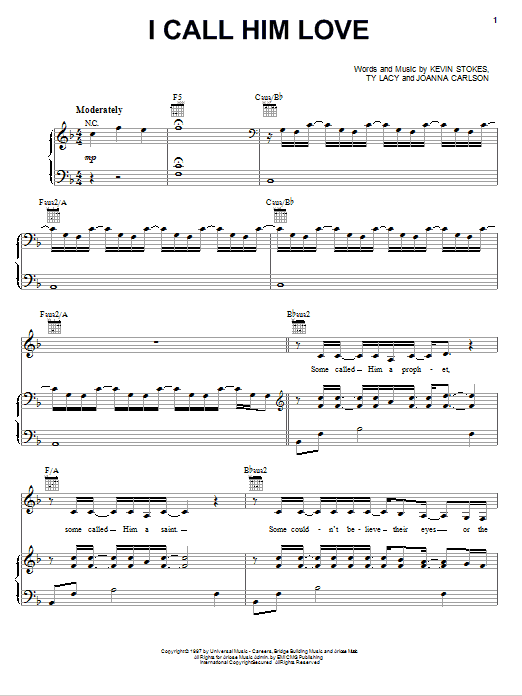 I Call Him Love sheet music for voice, piano or guitar by Ty Lacy
