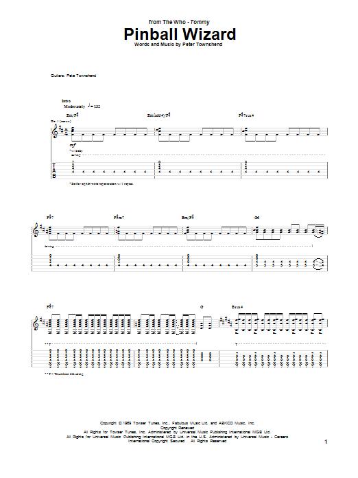 Tablature guitare Pinball Wizard de The Who - Tablature Guitare