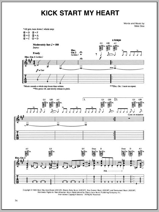 Tablature guitare Kick Start My Heart de Motley Crue - Tablature Guitare