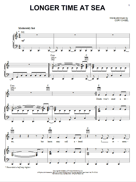 Partition piano Longer Time At Sea de Cory Chisel And The Wandering Sons - Piano Voix Guitare (Mélodie Main Droite)