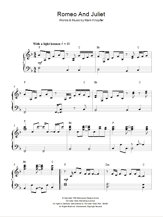 Romeo And Juliet sheet music for piano solo by Mark Knopfler