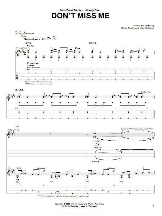Tablature guitare Don't Miss Me de The Derek Trucks Band - Tablature Guitare