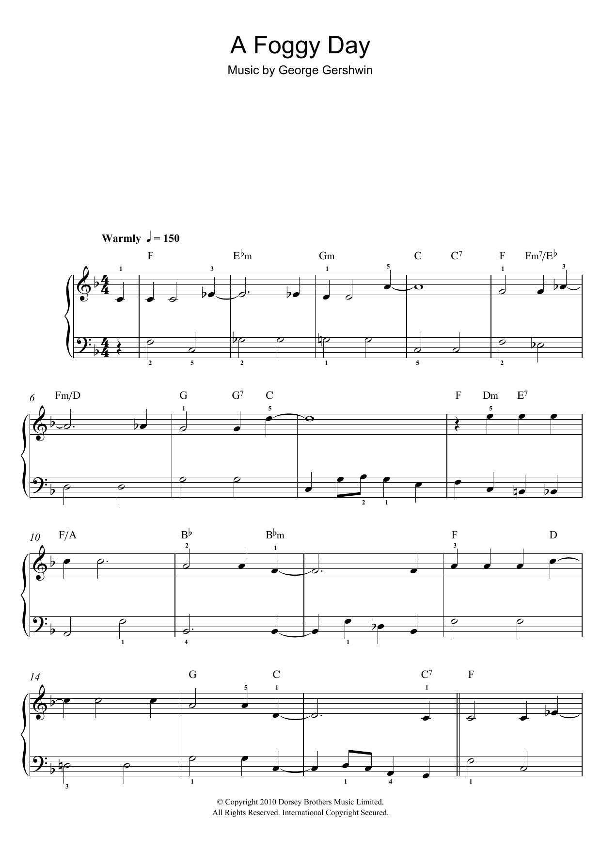 A Foggy Day (In London Town) sheet music for piano solo (chords) by George Gershwin
