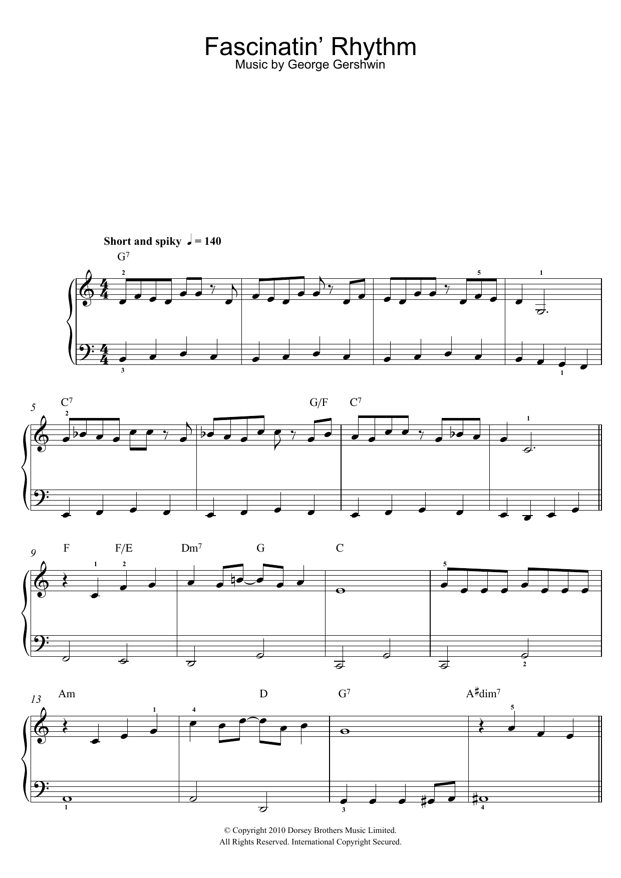 Fascinating Rhythm sheet music for piano solo (chords) by George Gershwin