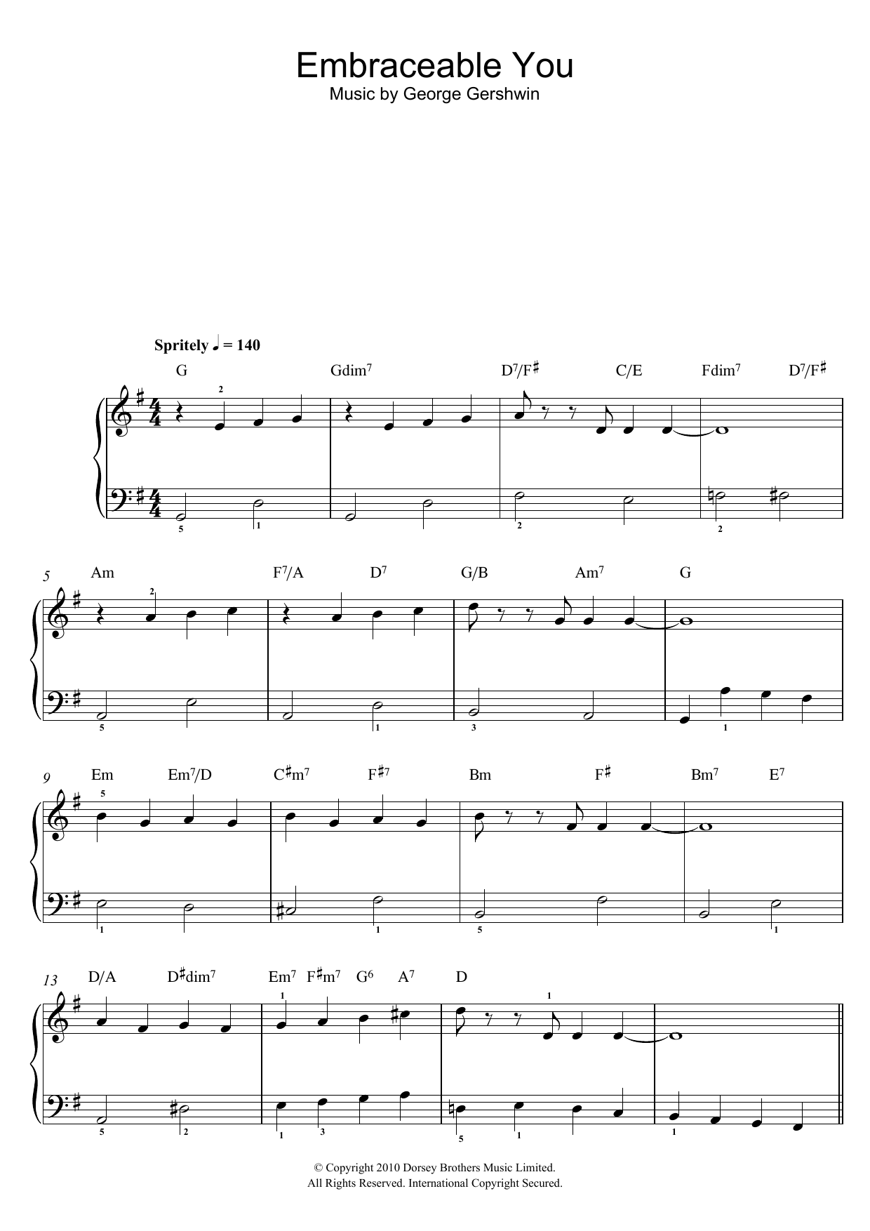 Embraceable You sheet music for piano solo (chords) by George Gershwin