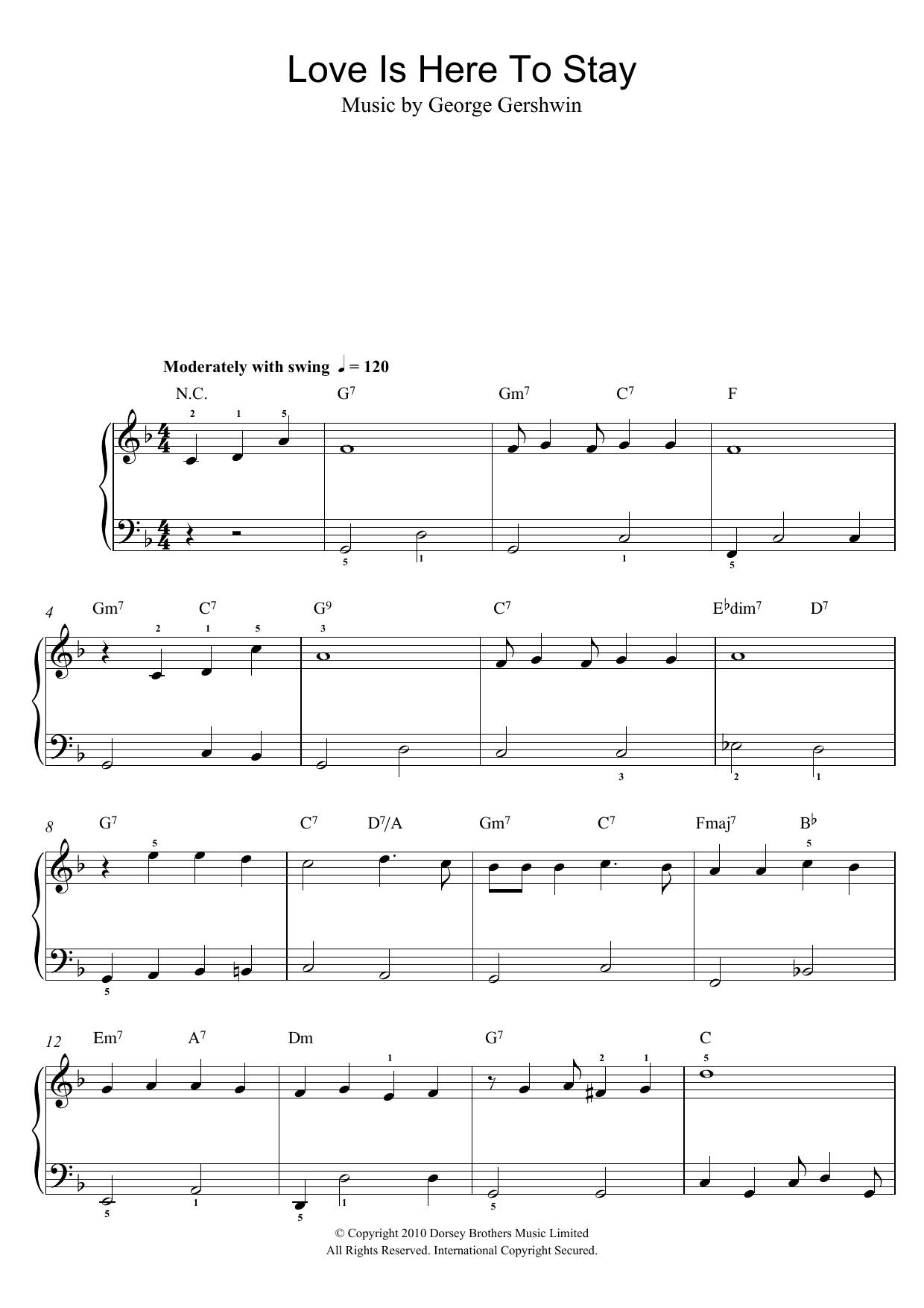 Love Is Here To Stay sheet music for piano solo (chords) by George Gershwin