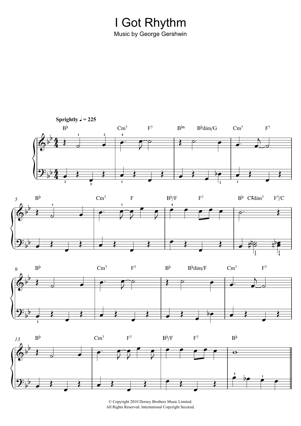 I Got Rhythm sheet music for piano solo (chords) by George Gershwin
