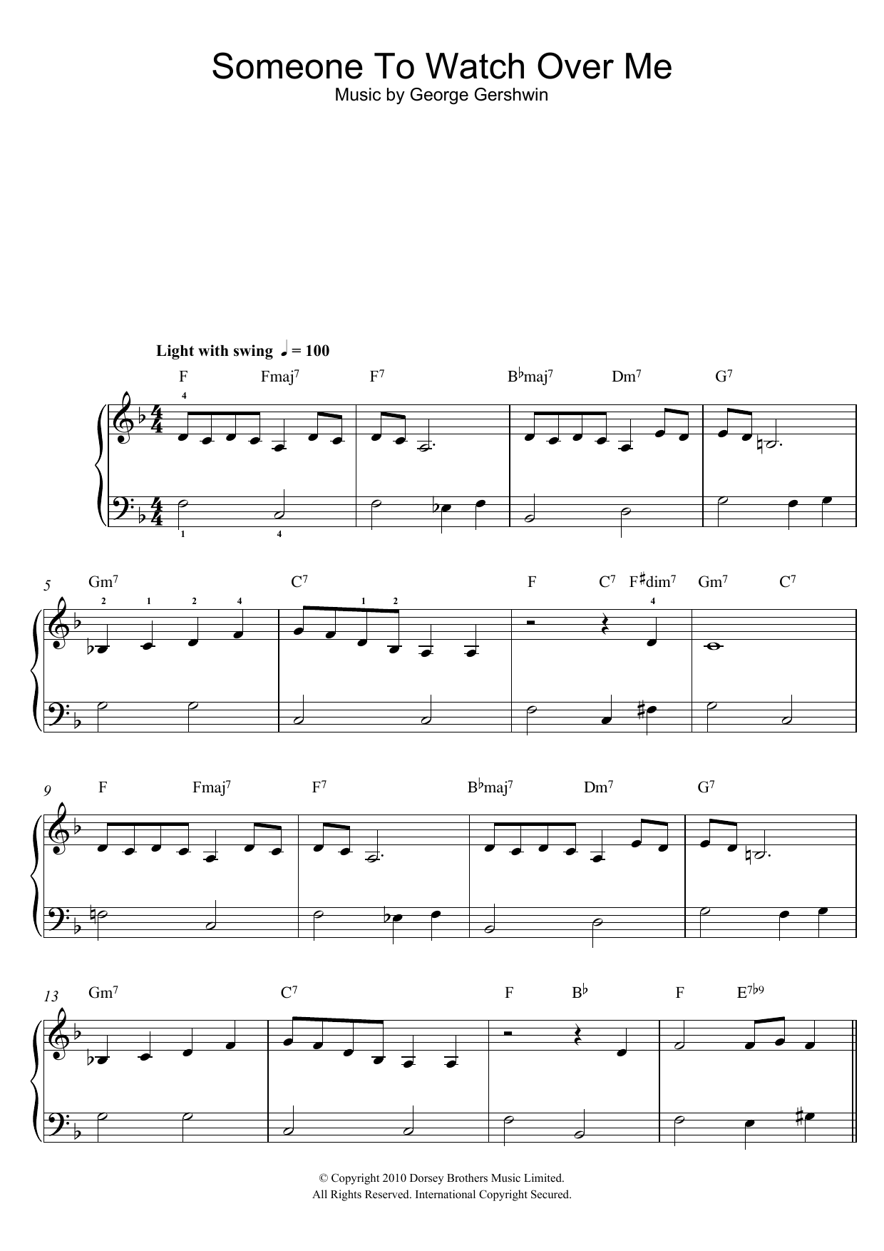 Someone To Watch Over Me sheet music for piano solo (chords) by George Gershwin