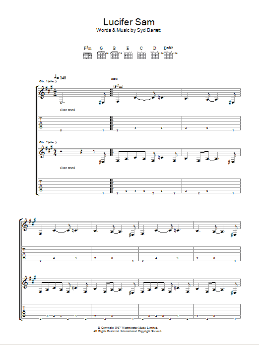 Lucifer Sam sheet music for guitar solo (tablature) by Syd Barrett