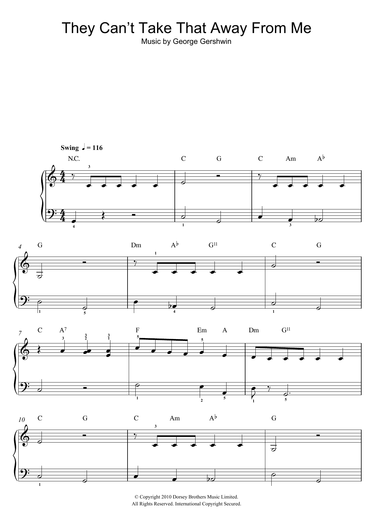 They Can't Take That Away From Me sheet music for piano solo (chords) by George Gershwin
