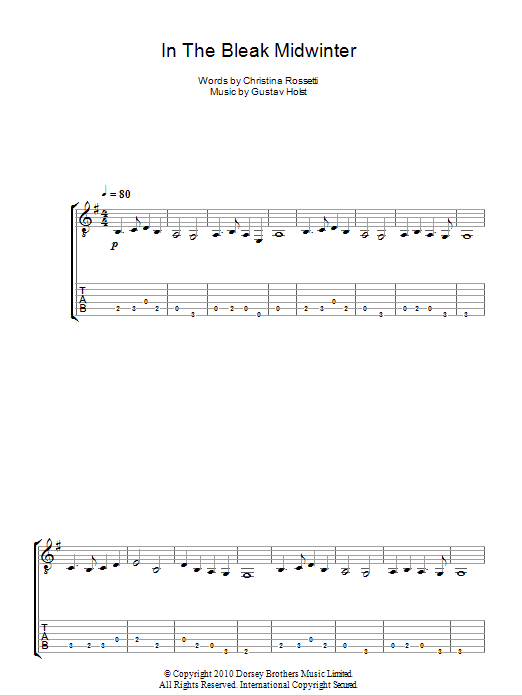 In The Bleak Midwinter sheet music for guitar solo (tablature) by Christina Rossetti