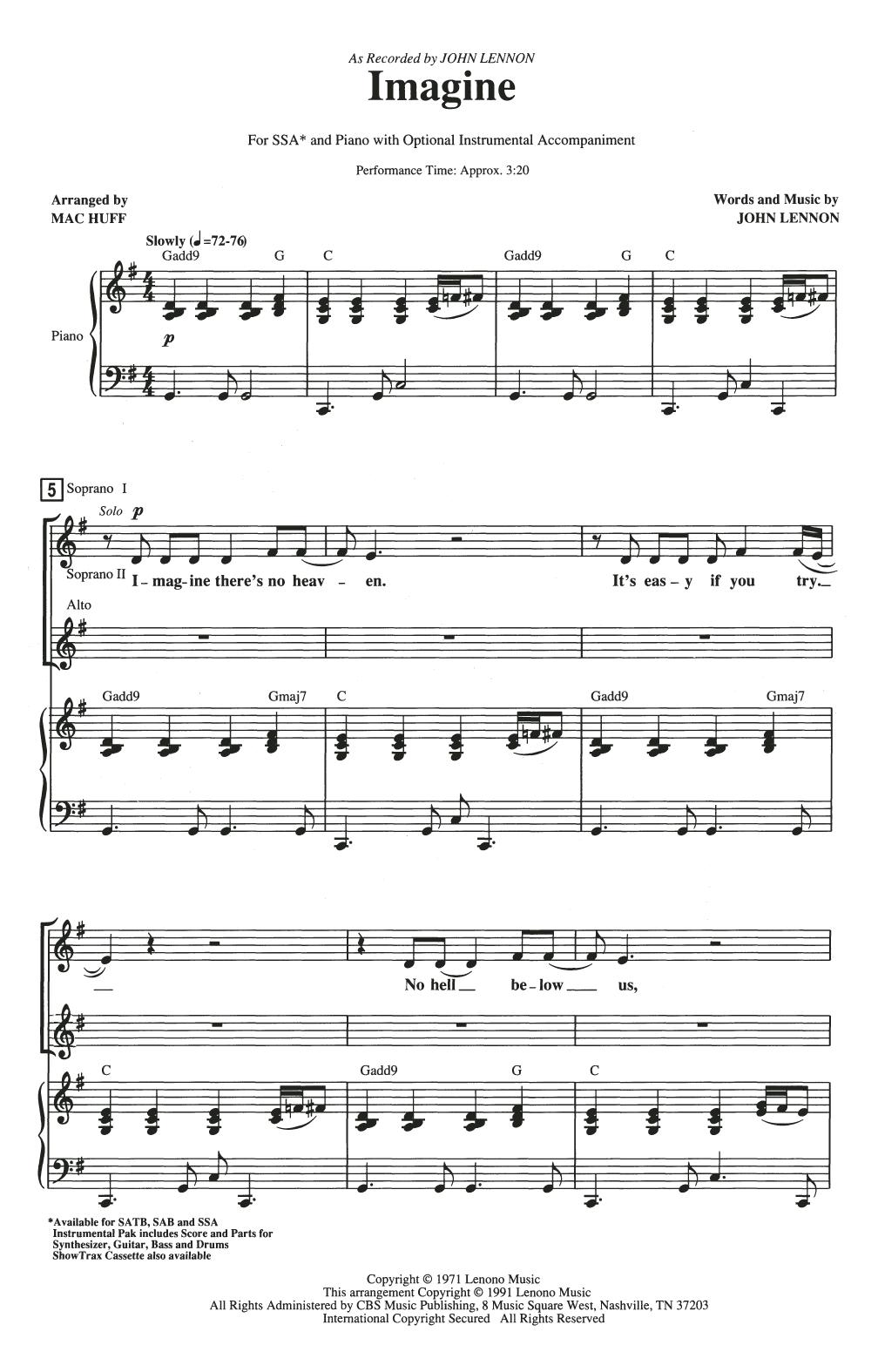 Partition chorale Imagine de John Lennon - SSA