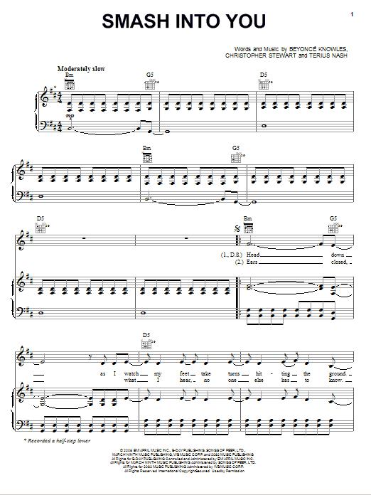 Partition piano Smash Into You de Beyonce - Piano Voix Guitare (Mélodie Main Droite)