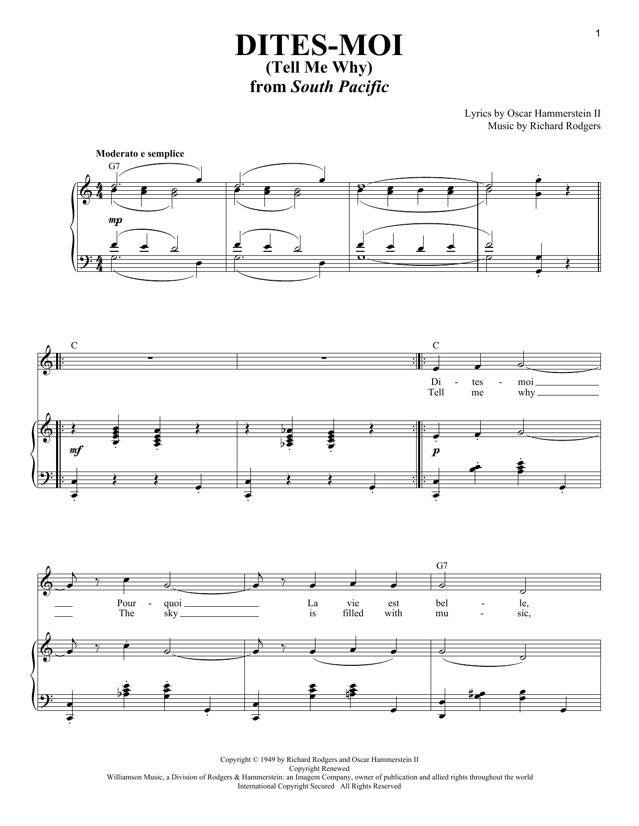 Partition piano Dites-Moi (Tell Me Why) de Rodgers & Hammerstein - Piano Voix