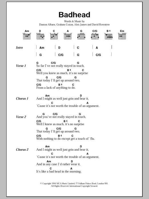 Badhead sheet music for guitar solo (chords, lyrics, melody) by Graham Coxon
