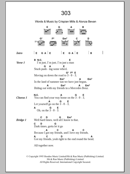 303 sheet music for guitar solo (chords, lyrics, melody) by Crispian Mills