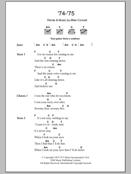 '74-'75 sheet music for guitar solo (chords, lyrics, melody) by Mike Connell