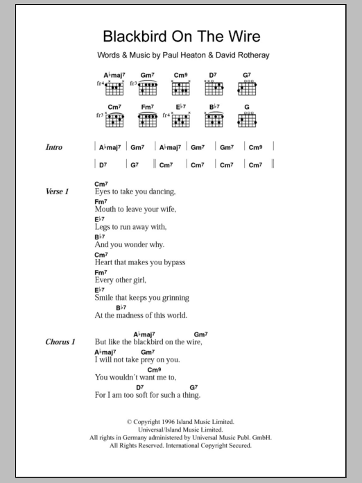 Blackbird On The Wire sheet music for guitar solo (chords, lyrics, melody) by Paul Heaton