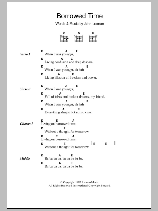 Borrowed Time by John Lennon - Guitar Chords/Lyrics - Guitar Instructor