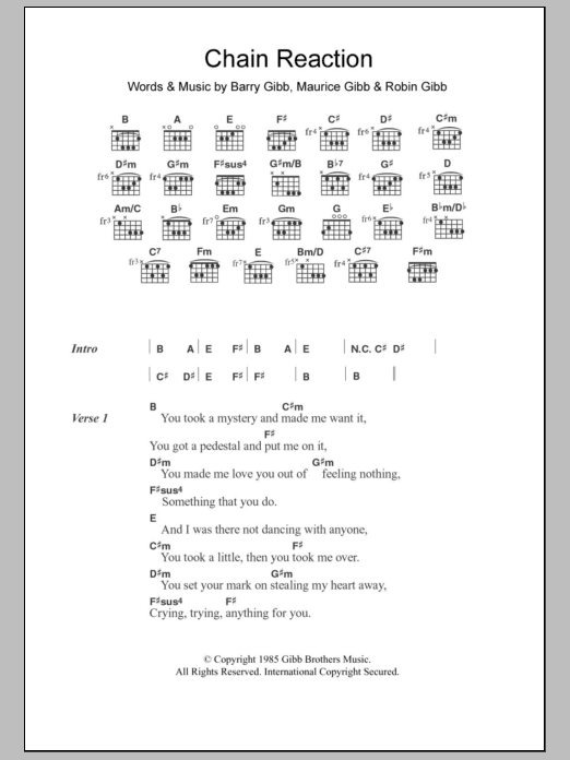 Chain Reaction sheet music for guitar solo (chords, lyrics, melody) by Robin Gibb