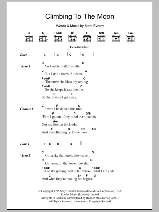 Climbing To The Moon sheet music for guitar solo (chords, lyrics, melody) by Mark Everett
