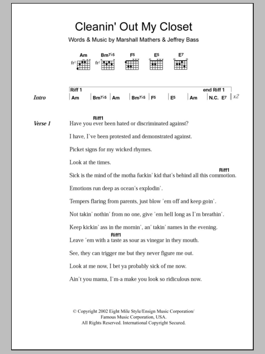 Cleanin' Out My Closet sheet music for guitar solo (chords, lyrics, melody) by Marshall Mathers