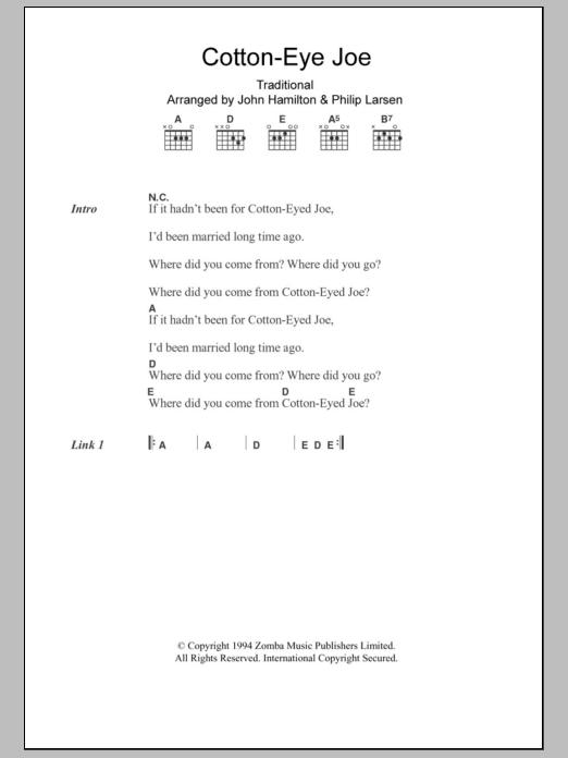 Cotton-Eye Joe sheet music for guitar solo (chords, lyrics, melody)