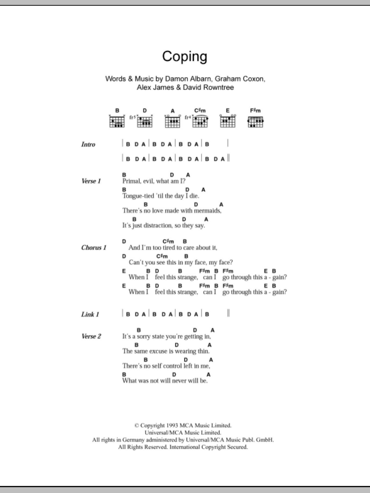 Coping sheet music for guitar solo (chords, lyrics, melody) by Graham Coxon