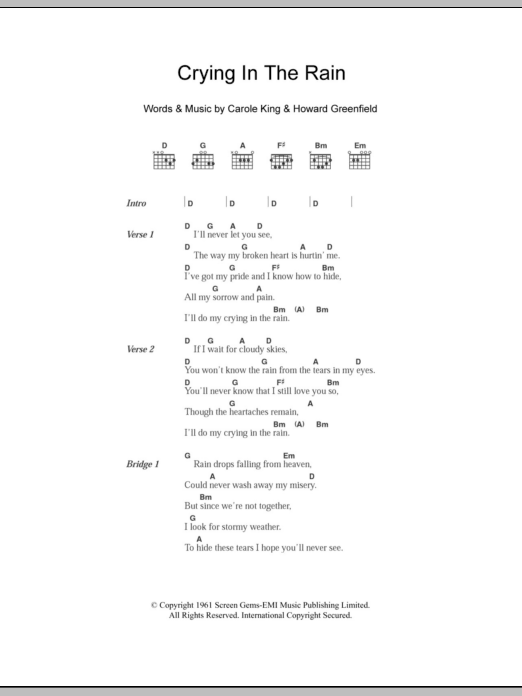 Crying In The Rain Chords For Ukulele