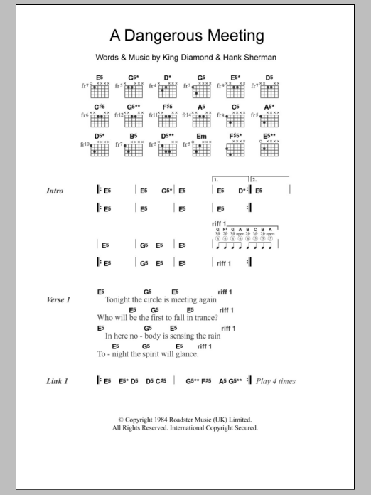 A Dangerous Meeting sheet music for guitar solo (chords, lyrics, melody) by Hank Sherman
