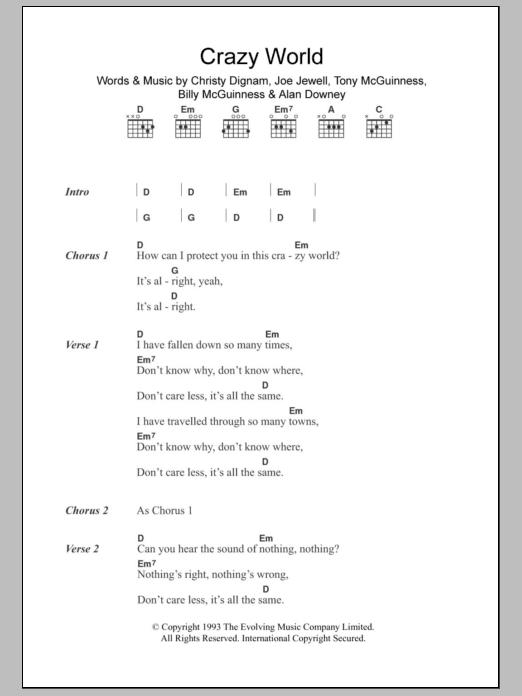 World Music Guitar Chord At Stantons Sheet Music
