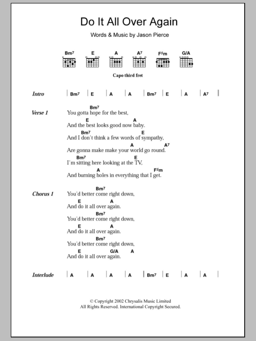 Do It All Over Again sheet music for guitar solo (chords, lyrics, melody) by Jason Pierce
