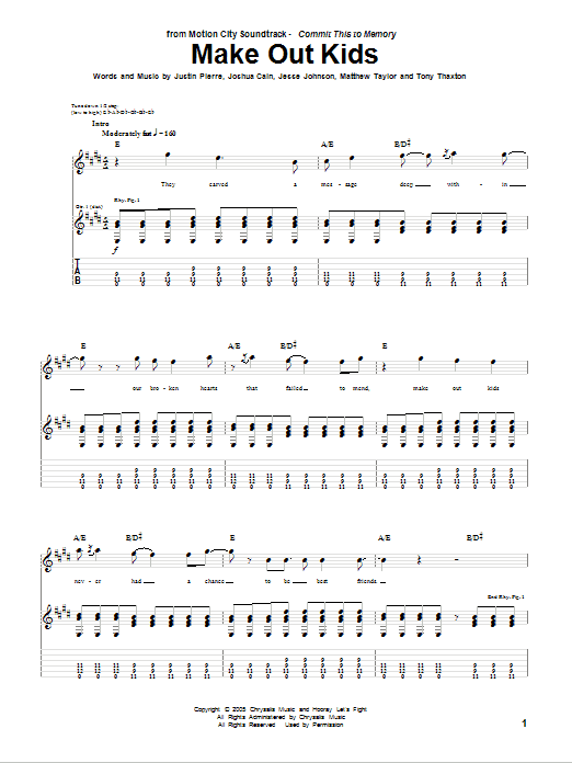 Make Out Kids sheet music for guitar solo (tablature) by Tony Thaxton