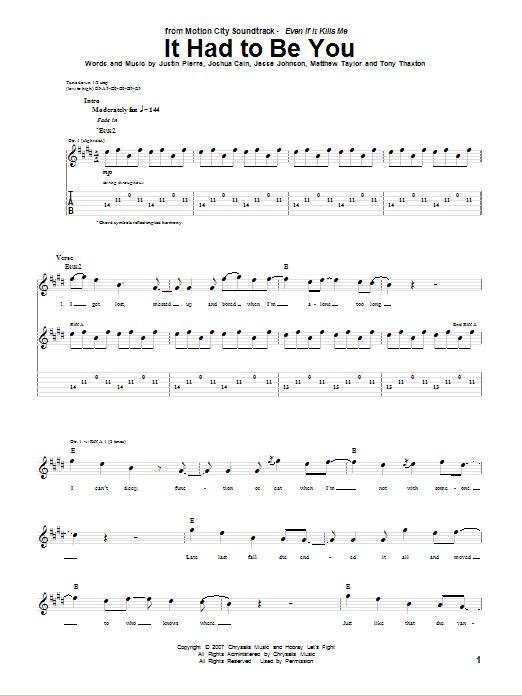Tablature guitare It Had To Be You de Motion City Soundtrack - Tablature Guitare